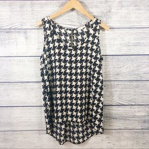 Pleione houndstooth sleeveless blouse size XS